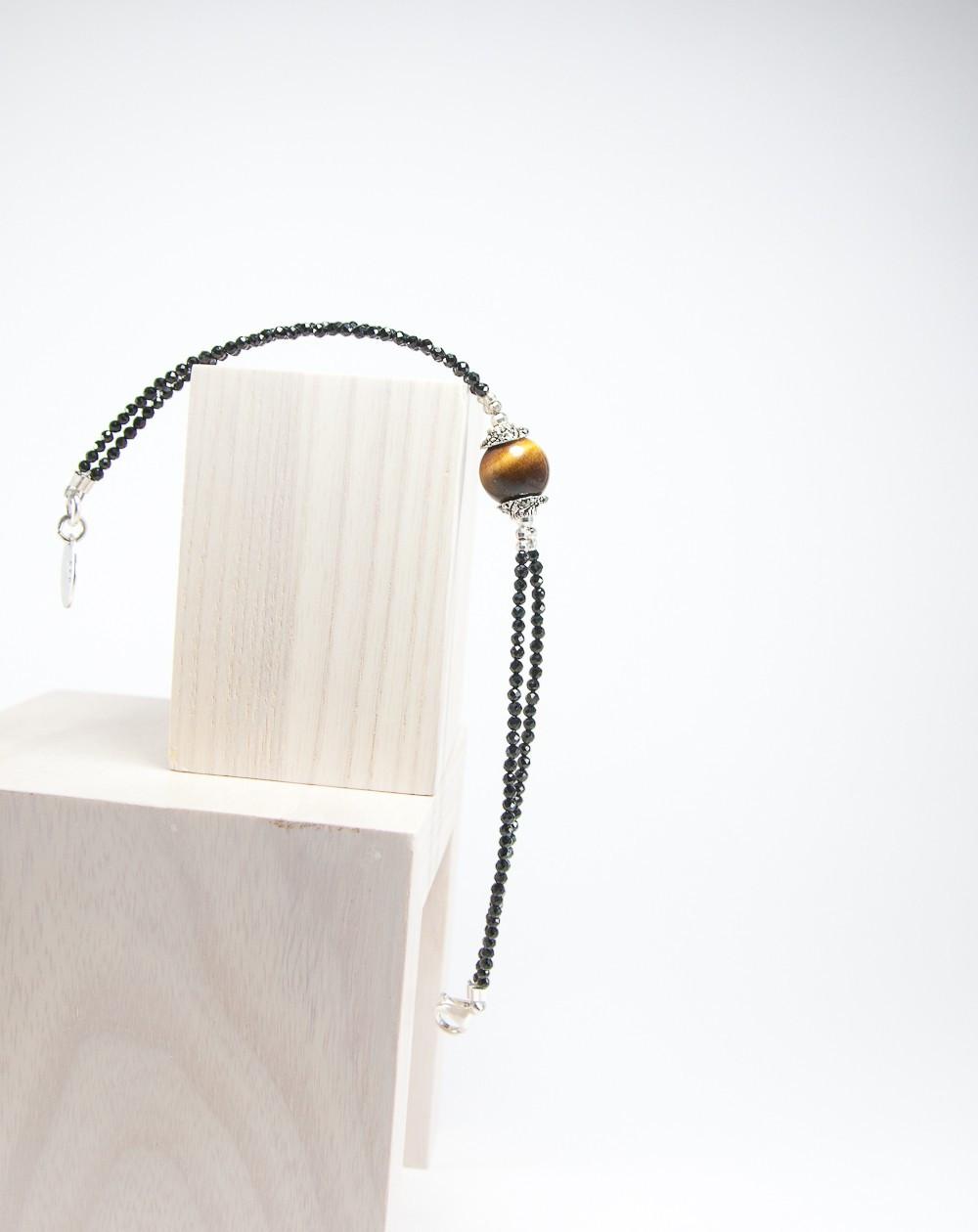 Bracelet double spinelle noir et Oeil de tigre, Sanuk