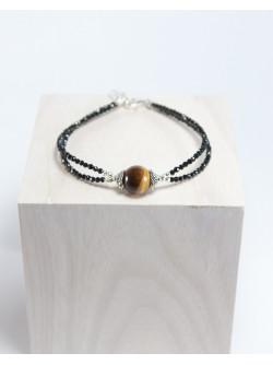 Bracelet double spinelle noir et Oeil de tigre