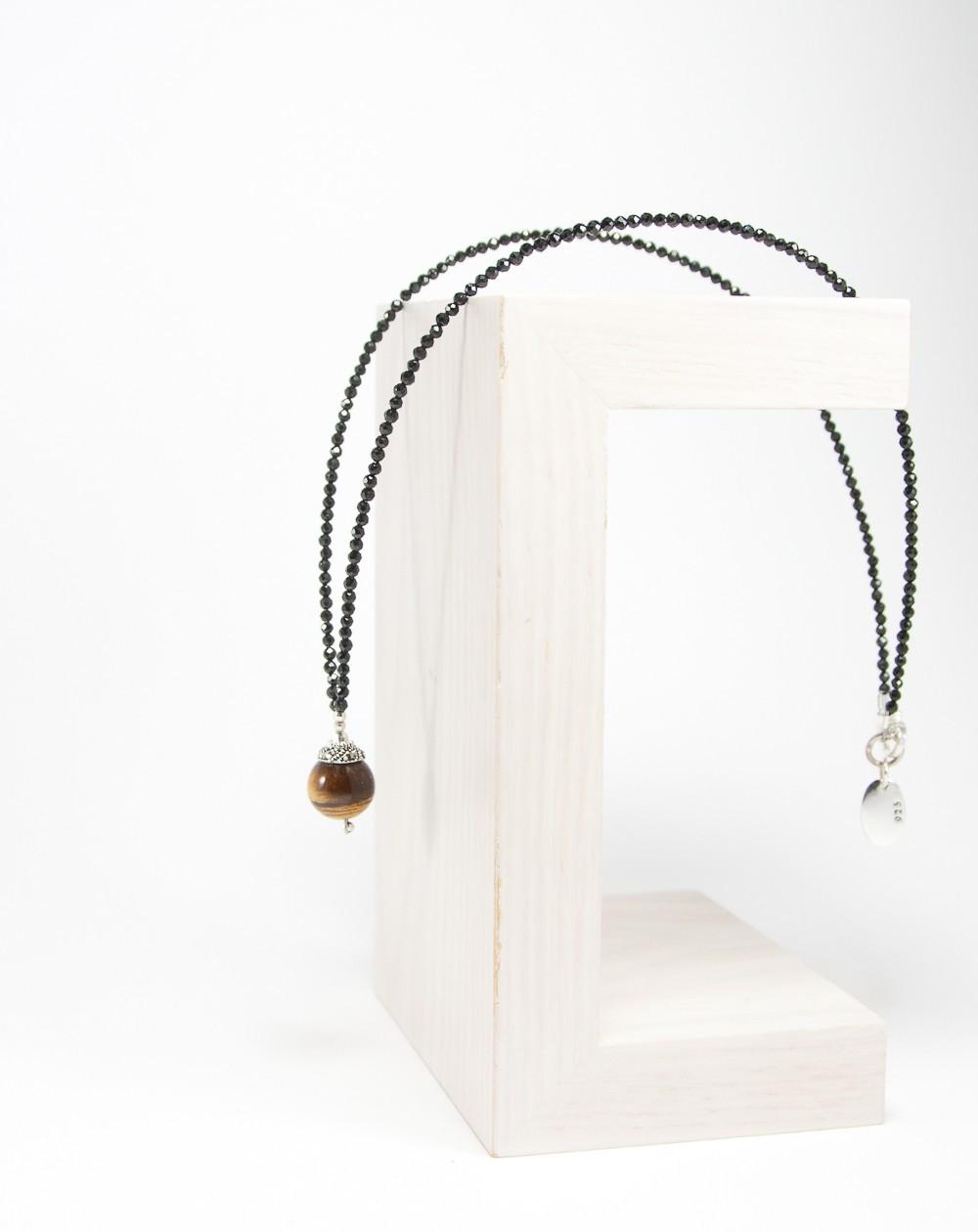 Collier spinelle noir, Oeil de tigre, Sanuk Création