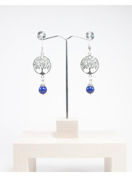 Boucles d'oreilles arbre de vie, Lapis Lazuli