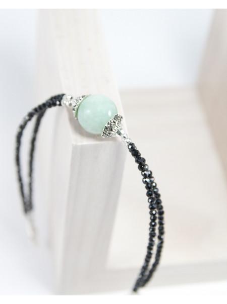 Bracelet double en Jade de Birmanie et Spinelle noir