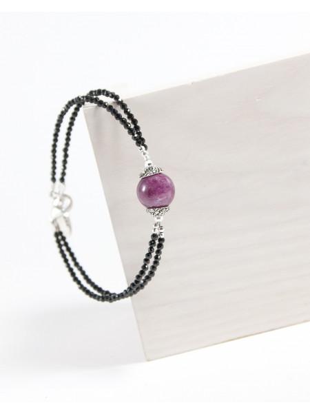Bracelet double en Spinelle noir et Rubis sur Zoïsite, Sanuk Création, Bayonne
