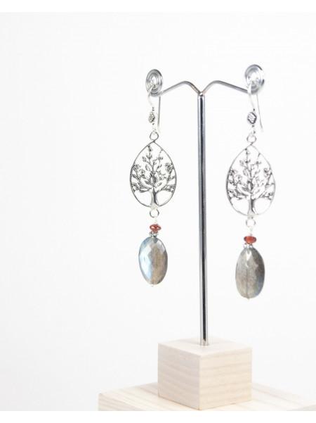 Boucles d'oreilles arbre de vie, Labradorite et Grenat