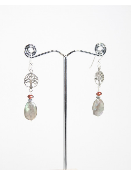 Boucles d'oreille petit Arbre de vie Labradorite Grenat, Sanuk Création