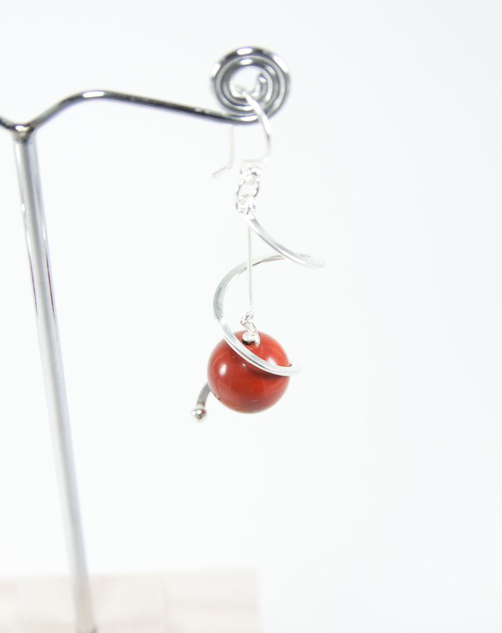 Boucles d'oreilles torsadé, jaspe rouge, Sanuk Création