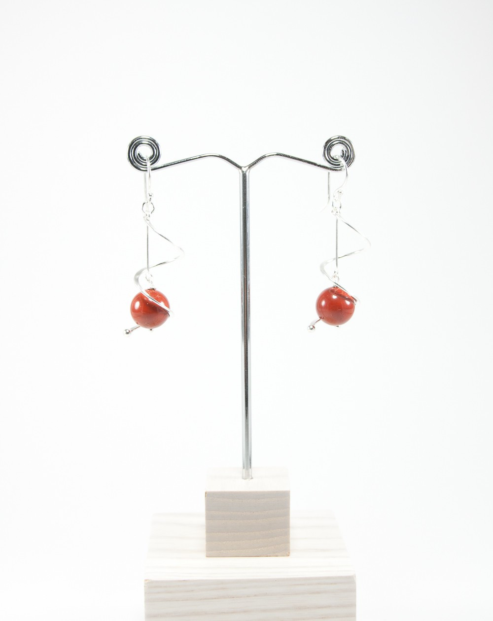 Boucles d'oreilles torsadé, jaspe rouge, Sanuk Bayonne