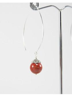 Boucles d'oreilles en Jaspe rouge, Argent