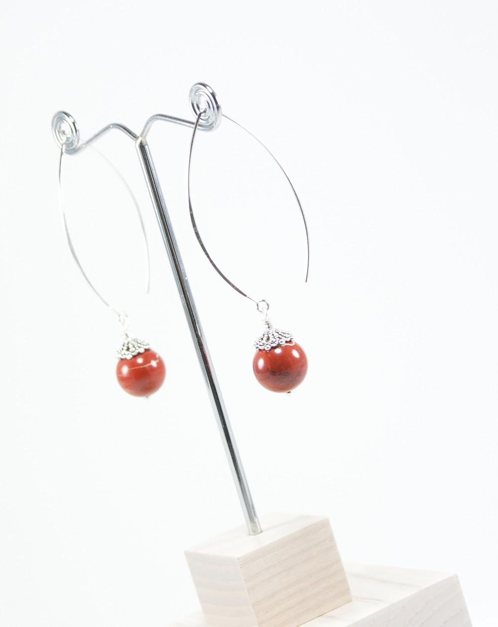 Boucles d'oreilles Jaspe rouge, Sanuk Création
