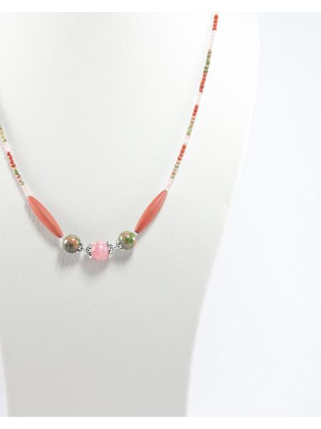 Collier Jaspe rouge, Unakite, Rhodochrosite, Unakite