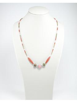 Collier Jaspe rouge, Unakite, Rhodochrosite, Unakite, Sanuk Création, Bayonne