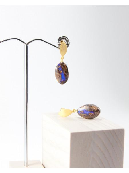 Boucles d'oreilles en argent plaqué or, Opale Boulder