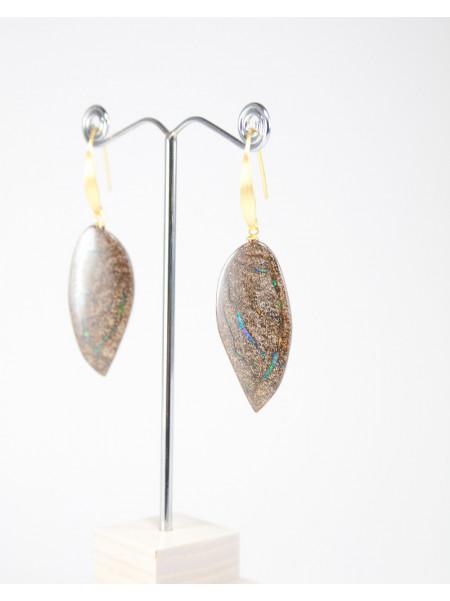Boucles d'oreilles en Opale Boulder, vermeil, Sanuk Création