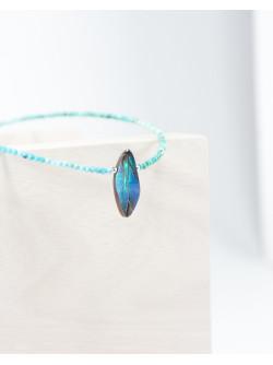 Collier en Turquoise d'Arizona et Opale, Sanuk Création