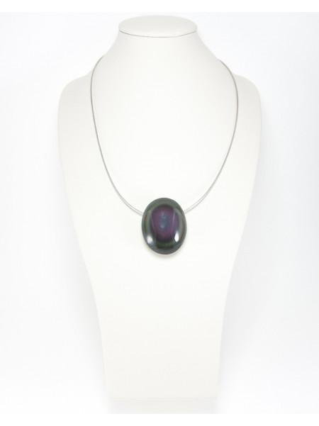 Pendentif en Obsidienne arc en ciel ou oeil céleste, Sanuk Création