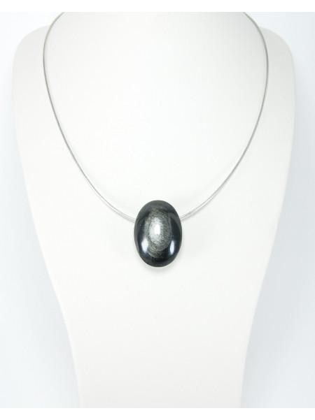 Pendentif en obsidienne argentée, Sanuk Création