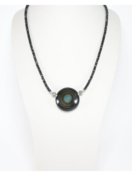 Collier en Spinelle noir, Obsidienne arc en ciel, Sanuk création