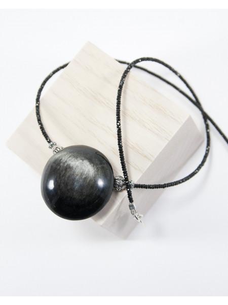 Collier en Spinelle noir, Obsidienne argentée, Sanuk Création