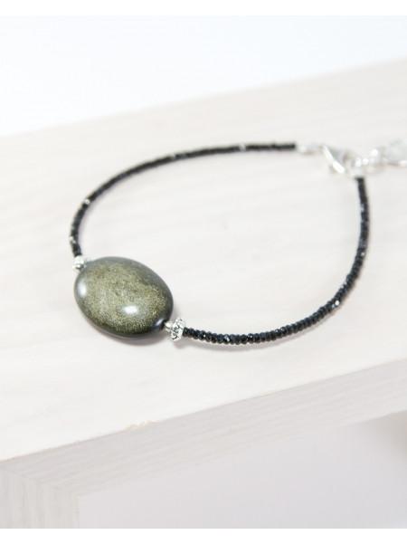 Bracelet Spinelle noir, Obsidienne dorée
