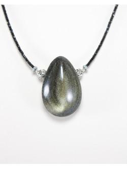 Collier en Spinelle noir et obsidienne dorée, Sanuk Création, Bayonne