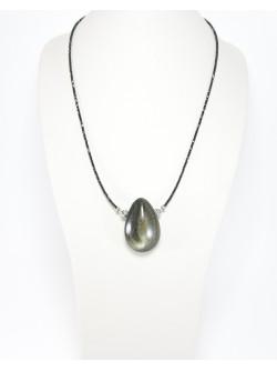 Collier en Spinelle noir et obsidienne dorée, Sanuk Création