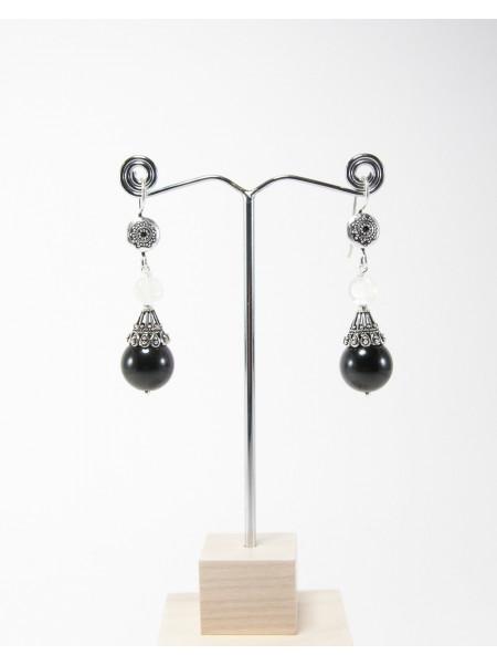Boucles d'oreilles en Obsidienne et pierre de lune