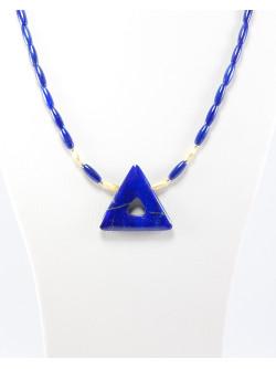 Collier triangle en Lapis Lazuli d'Afganistan, Sanuk Création, Bayonne