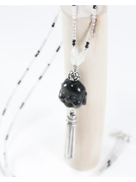 Sautoir Spinelle, Pierre de Lune, Bouddha en Obsidienne arc en ciel