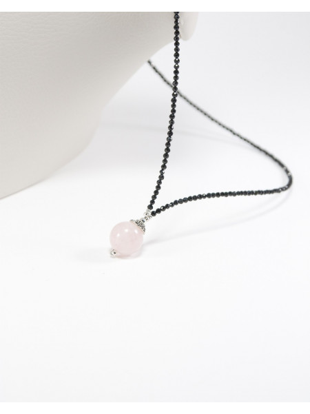 Collier en Spinelle Noir, Quartz Rose