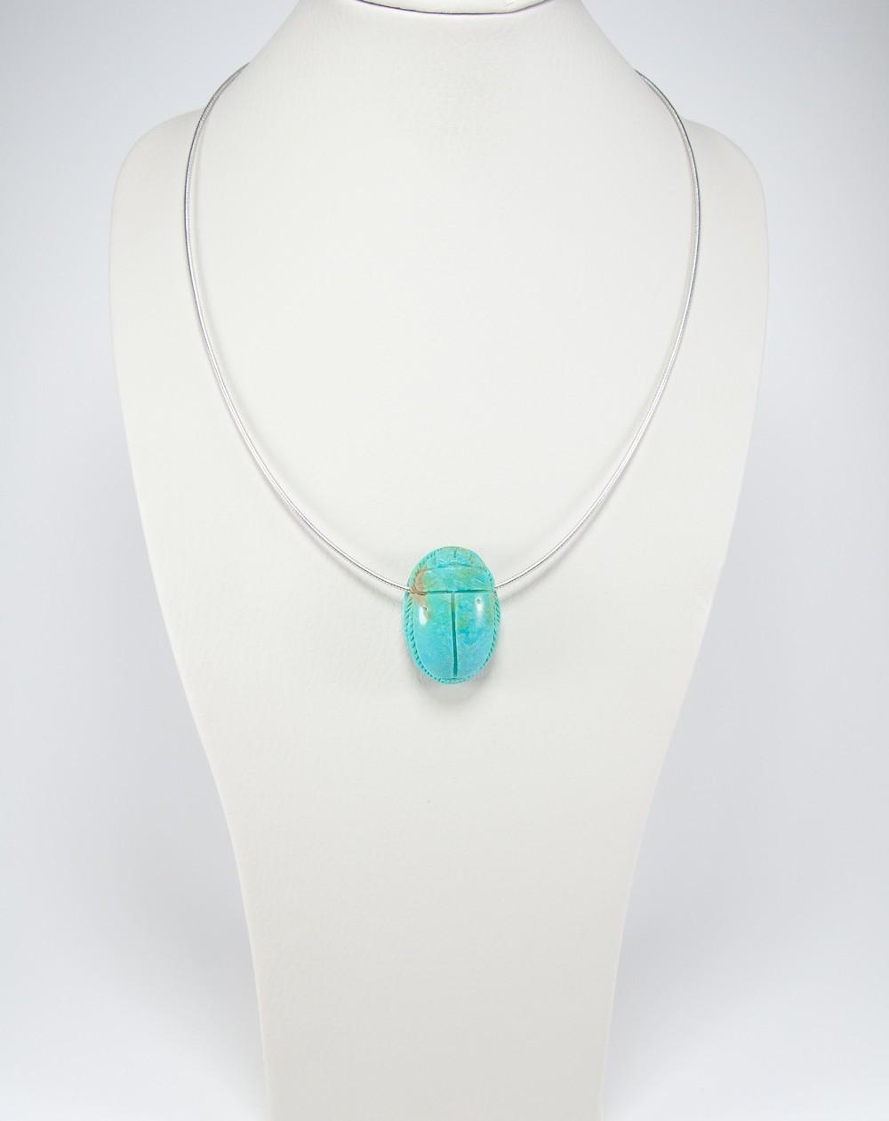 Pendentif Scarabée en Turquoise d'Arizona, Sanuk création. Créateurs Français