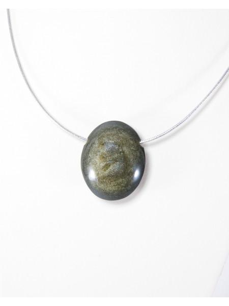 Pendentif en obsidienne dorée, Sanuk Création, Bayonne