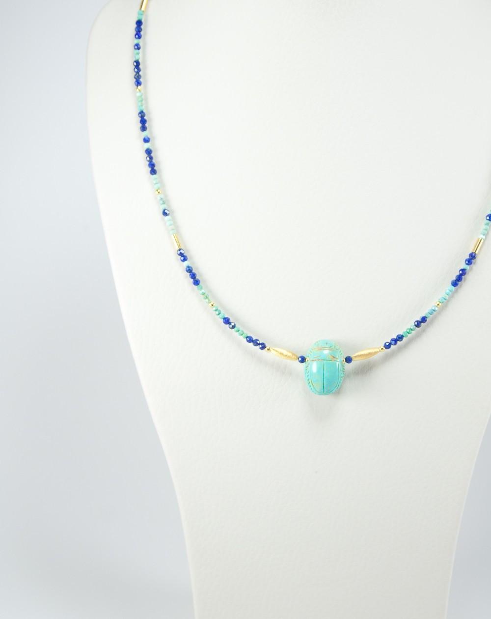 Collier en Lapis lazuli, scarabée turquoise
