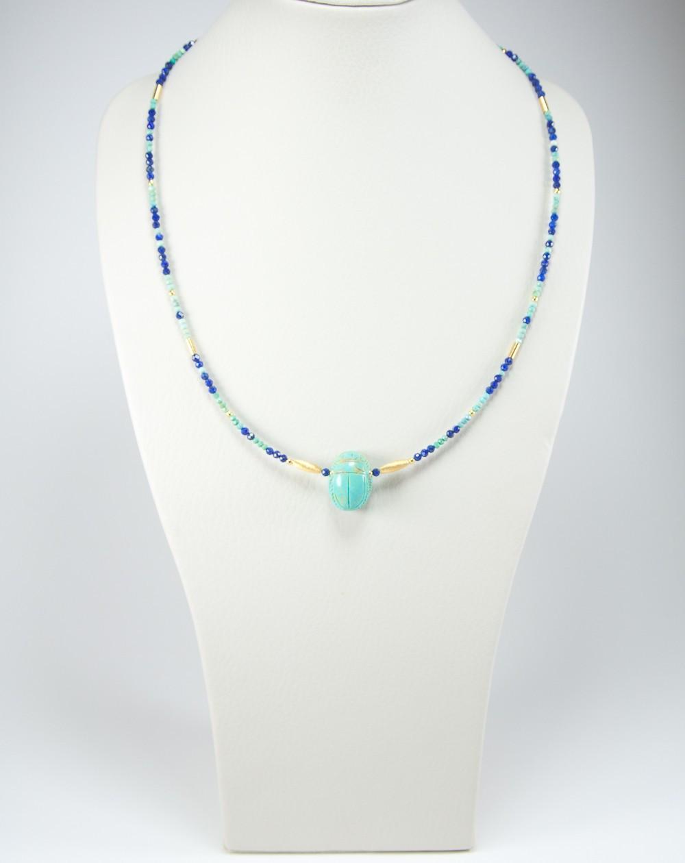 Collier en Lapis lazuli et Turquoise, Scarabée en Turquoise d'Arizona