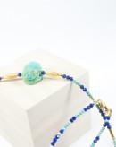 Collier en Lapis lazuli et Turquoise, Scarabée en Turquoise d'Arizona, Sanuk Création
