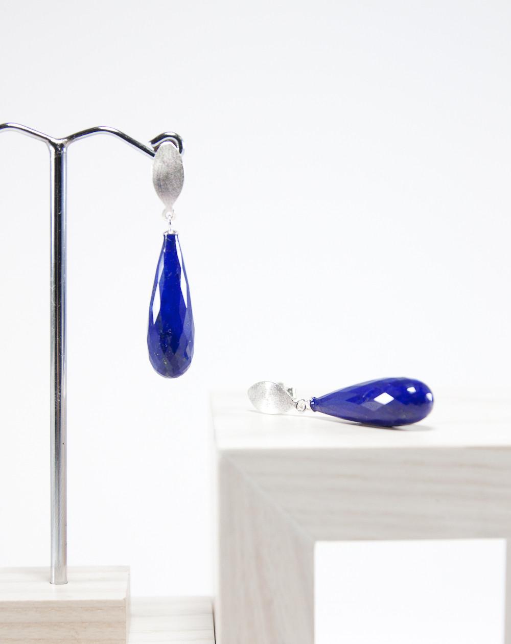 Boucles d'oreilles lapis lazuli facetté, argent brossé, Sanuk Création