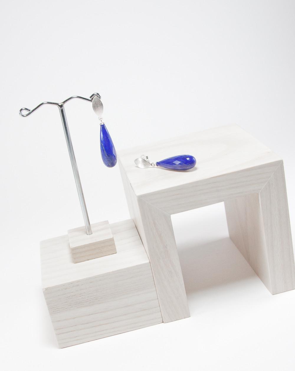 Boucles d'oreilles lapis lazuli facetté, Sanuk Création