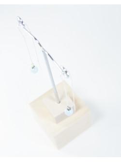 Boucles d'oreilles double chaine en argent . Aigue marine, Sanuk Création