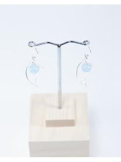 Boucles d'oreilles vrille en argent. Aigue marine, Sanuk Création