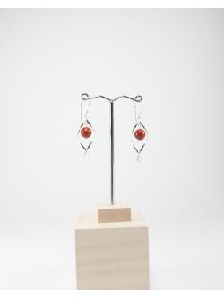Boucles d'oreilles vrille en Jaspe rouge, Sanuk création