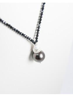Collier Signature en Spinelle et Perle de Tahiti, Sanuk Création