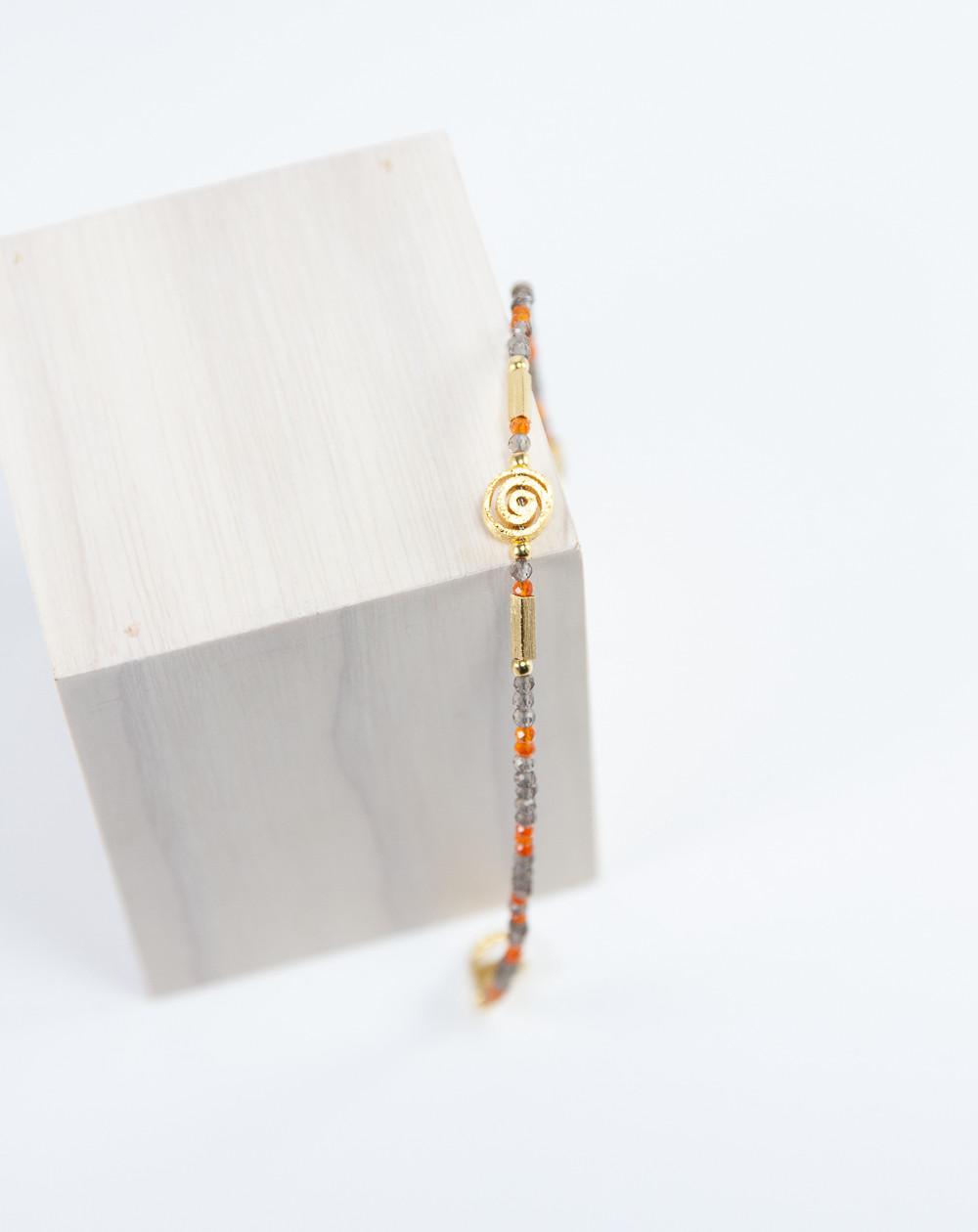 Bracelet Spirale plaqué or, Cornaline Quartz Fumé, Sanuk Création