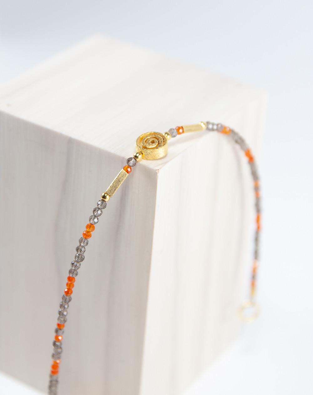 Bracelet Spirale Cornaline Quartz Fumé, Sanuk Création