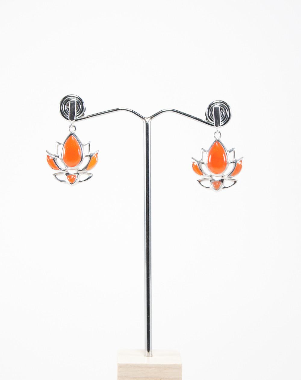 Boucles d'oreilles fleur de Lotus Cornaline, Dokbua