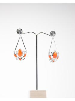 Boucles d'oreilles longue fleur de Lotus Cornaline, collection Dok bua, Sanuk Création