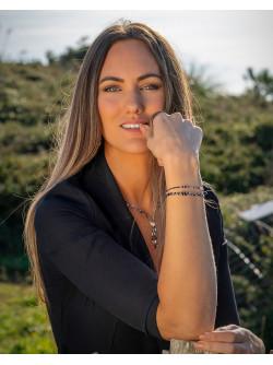 Bracelet triple en Quartz Tourmaliné, et spinelle noir, collection épure