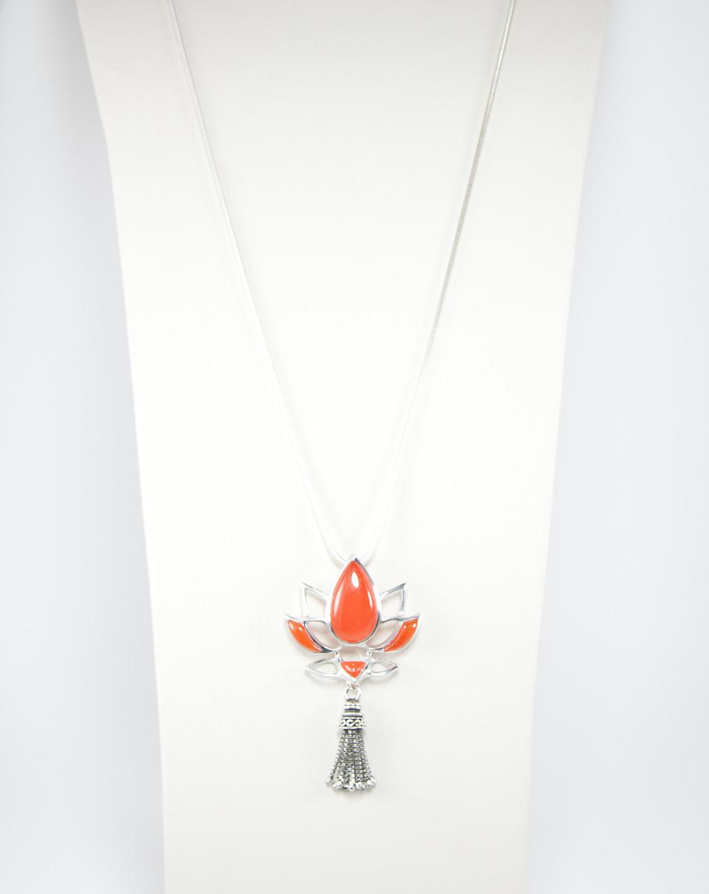 Pendentif fleur de Lotus Cornaline, Grand modèle, collection Khépri