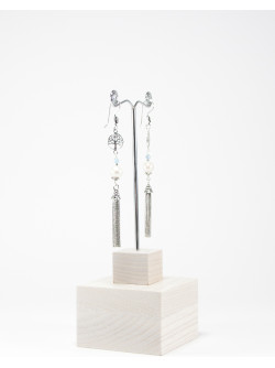 Boucles d'oreilles Kimua arbre de vie Perle et Aigue-Marine, Sanuk Création, Bayonne