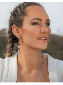 Boucles d'oreilles arbre de vie Perle et Aigue-Marine, Sanuk Création