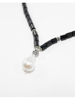 Collier en Onyx mat et Perle baroque, Sanuk Création, Bayonne