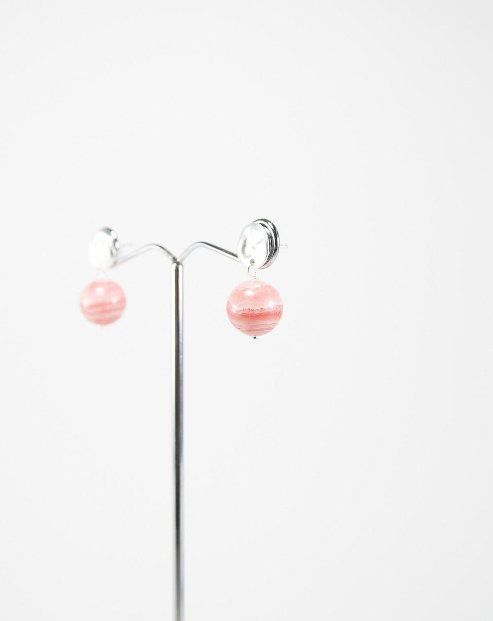 Boucles d'oreilles argent brossé et Rhodochrosite, Sanuk création