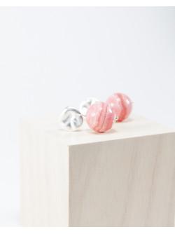 Boucles d'oreilles argent brossé et Rhodochrosite, Sanuk création, Bayonne